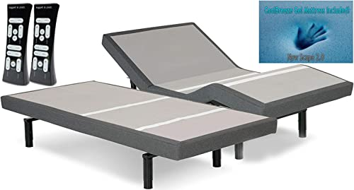 DynastyMattress S-Cape 2.0 Grey Adjustable Beds Set Sleep System Leggett Platt
