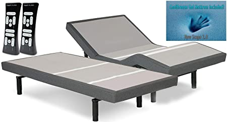 DynastyMattress S-Cape 2.0 Adjustable Beds Set Sleep System Leggett Platt, with 10-Inch Cool Breeze Gel Memory Foam Mattress-Split King Size