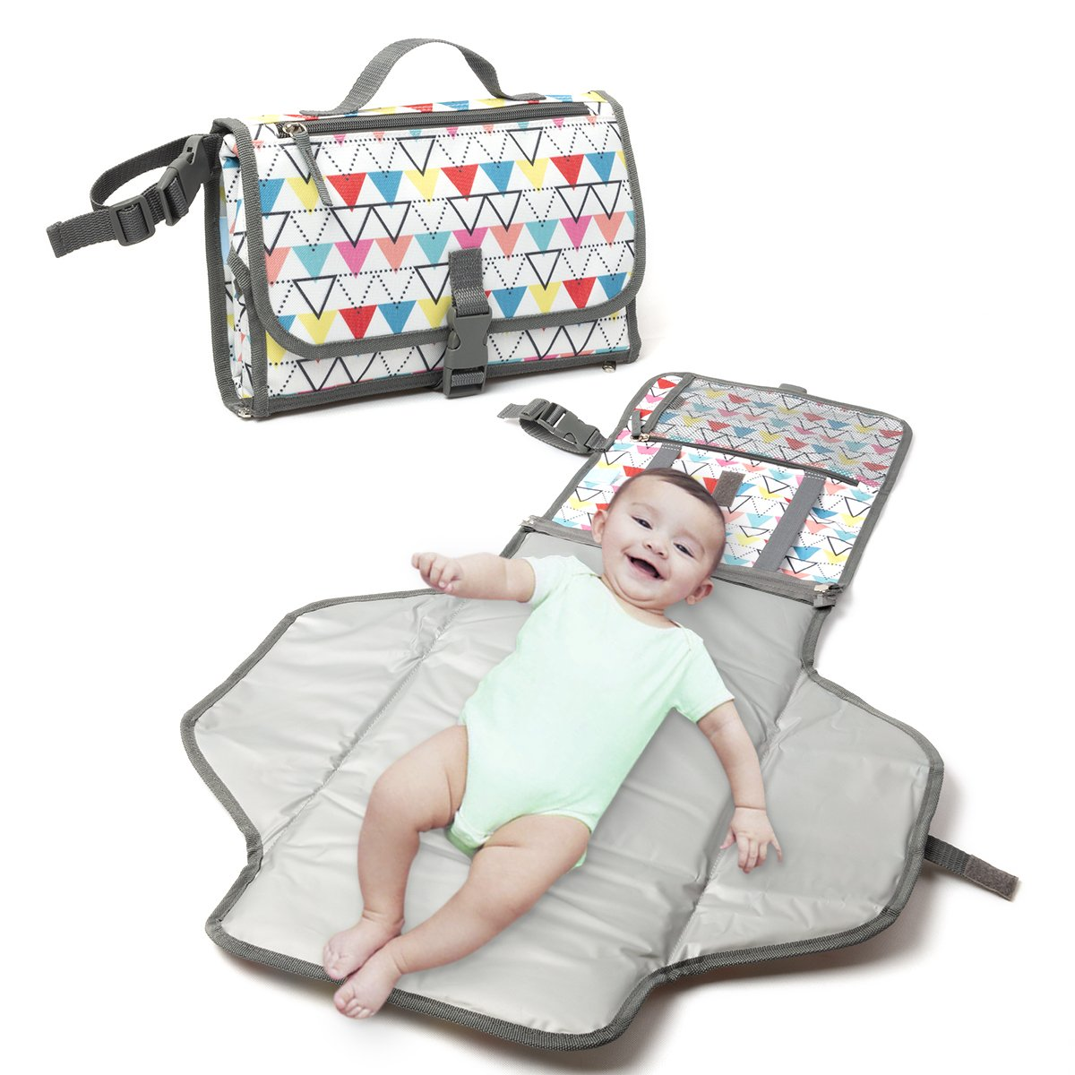 Changing Pad - Baby Changing Mat, Portable Travel Changer Station, Waterproof Diaper Pad, Diaper pouch, Folding Diaper Clutch, Travel Kit for Baby, Small Detachable Wipeable mat with Pockets(Triangle)