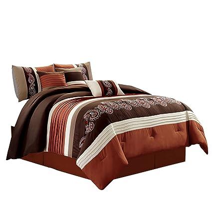 Full Queen Cal King Brown Rust Orange Floral Stripe 7 pc Comforter Set Bedding