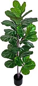 "BESAMENATURE 49"" Artificial Fiddle Leaf Fig Tree, Faux Ficus Lyrata for Home Office Decoration"