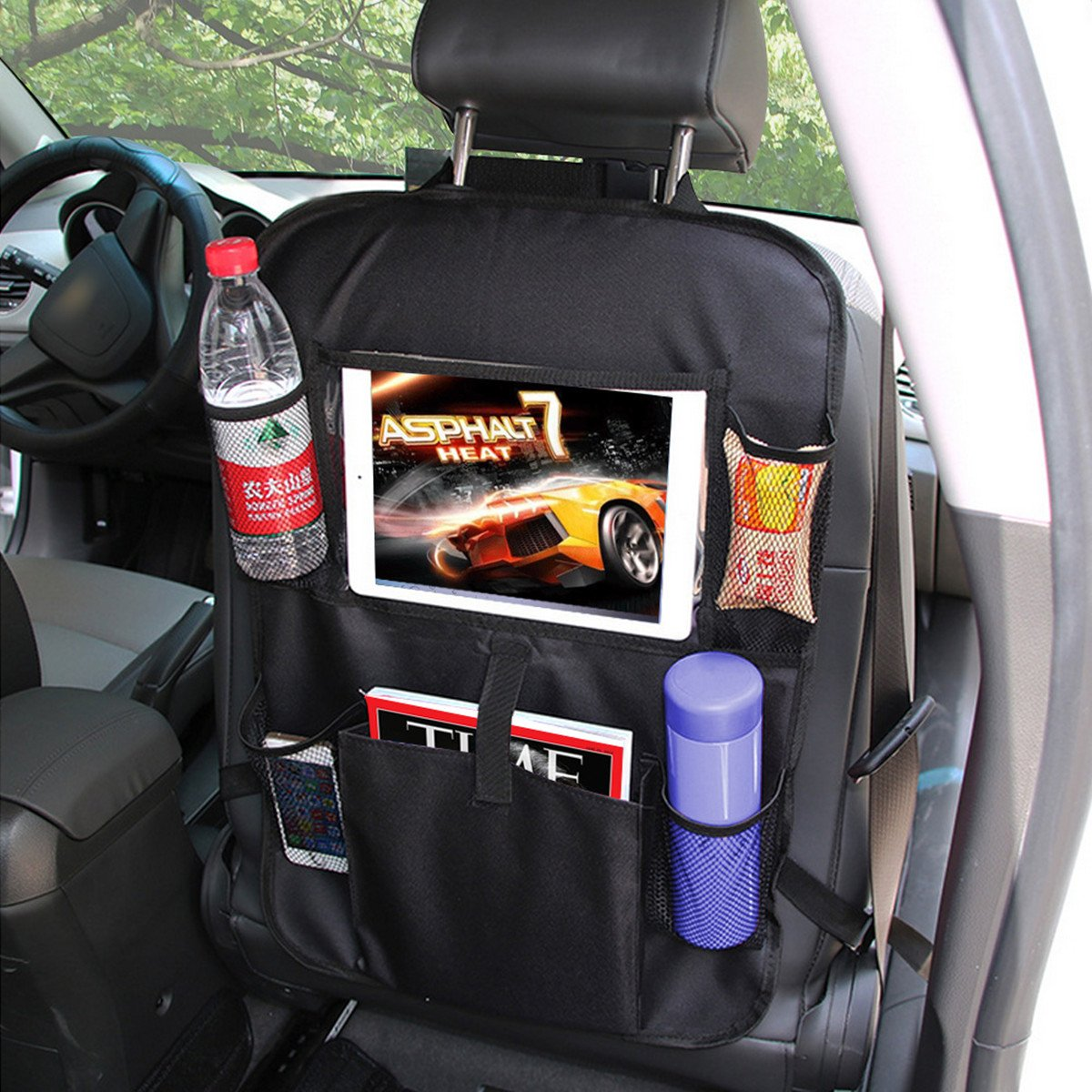 MATCC Protezione Sedile Auto Organizer Auto Bambini Proteggi Sedile Auto Tappetino Protettore Impermeabile Oxford Nero con Tasca MATCCvlwozlg97