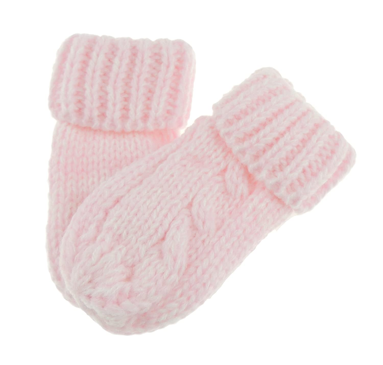 Baby Girls Boys Block Colour Warm Winter Fine Knit Mittens White Glamour Girlz
