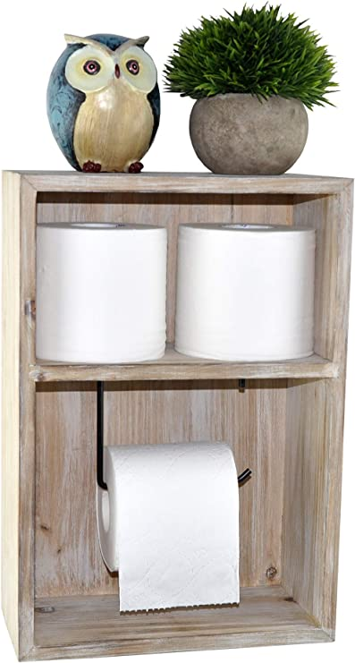 Amazon Com Spiretro Wall Mount Toilet Paper Holder Decorative Tissue Paper Roll Dispenser Floating Shelf Recessed Cubby Box Bracket Cabinet Storage Reserve Organize For Bathroom Rustic Torch Wood Grey Kitchen Dining