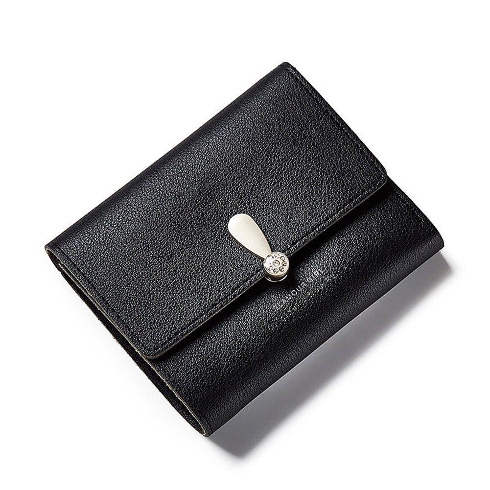 5676d4c3c4eed ASOSMOS Frauen Kurze Mini Geldbörse Falten Einfarbige Brieftasche PU-Leder  Reißverschluss Münzfach Kartenhalter (Lila)  Amazon.de  Koffer