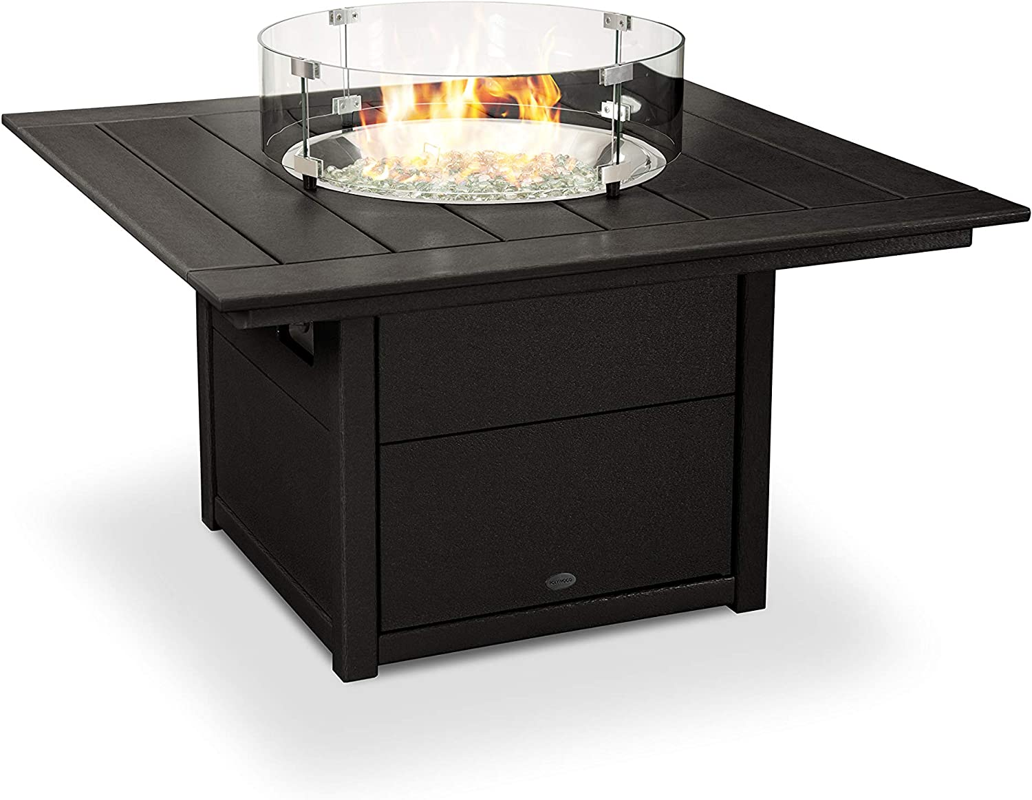 "B07DM7VKXT POLYWOOD Square 42"" Fire Pit Table (Black) 71dItfw69TL"