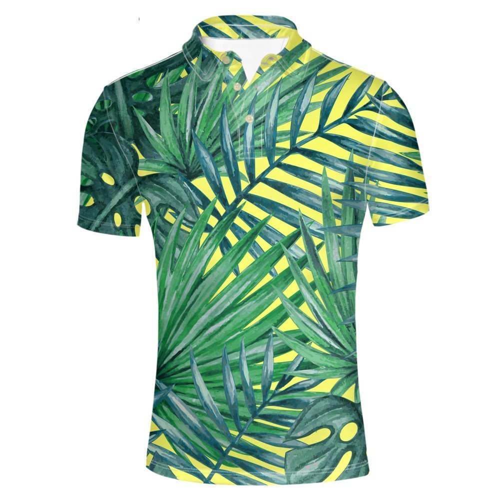 HUGS IDEA Mens Fashion Pique Polos T-Shirts Summer Hawaiian Tropical Monstera and Breadfruit Shirt Short Sleeve Sport Tees