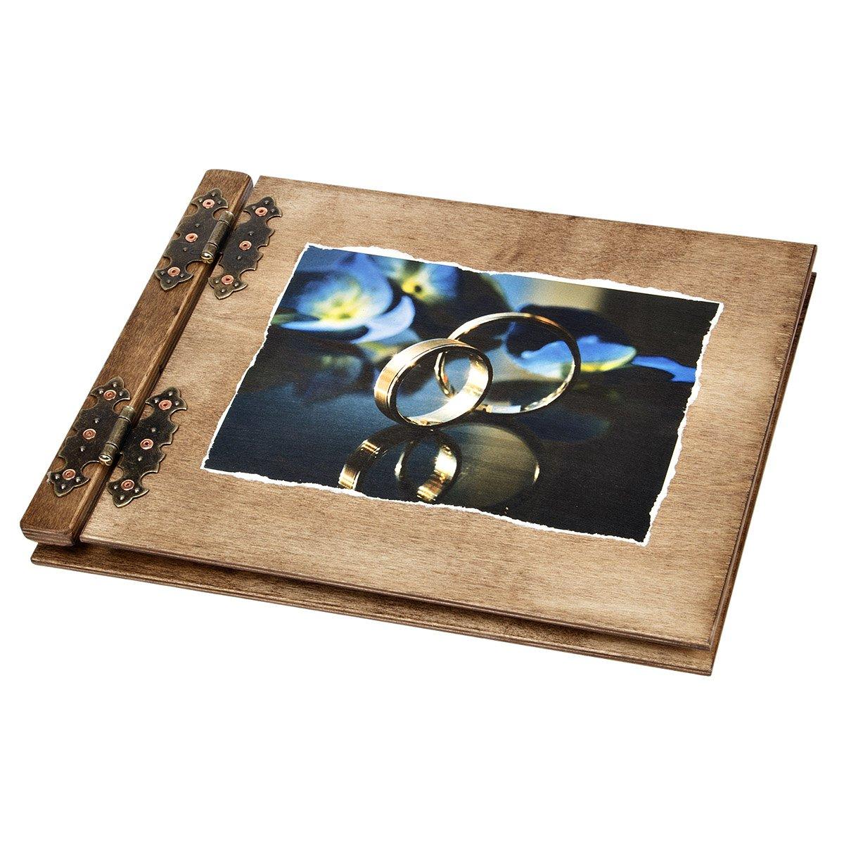 100 Blatt Holzgästebuch zur Hochzeit 2 spiegelnde Eheringe