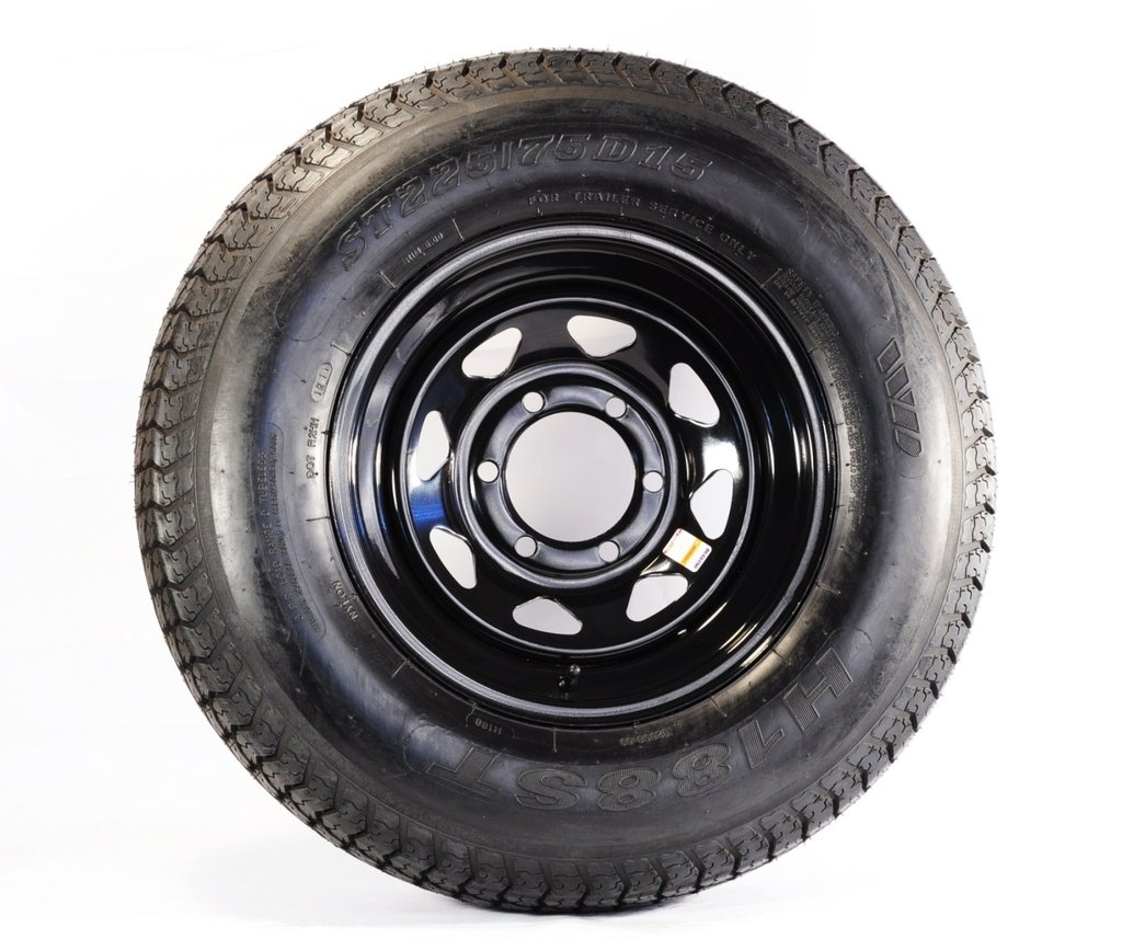 Rainier ST ST225//75R15 LRD 8 PR Radial Trailer Tire on 15 6 Lug Black Spoke Trailer Wheel