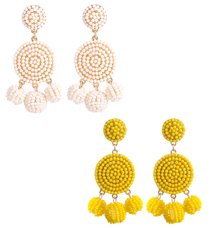 ELEARD Beaded Earrings Elegant Soriee Dangle Bead Disc Bead 3 Ball Dangle Ear Drop Bead Tassel Earrings for Women Girl (Yellow White)