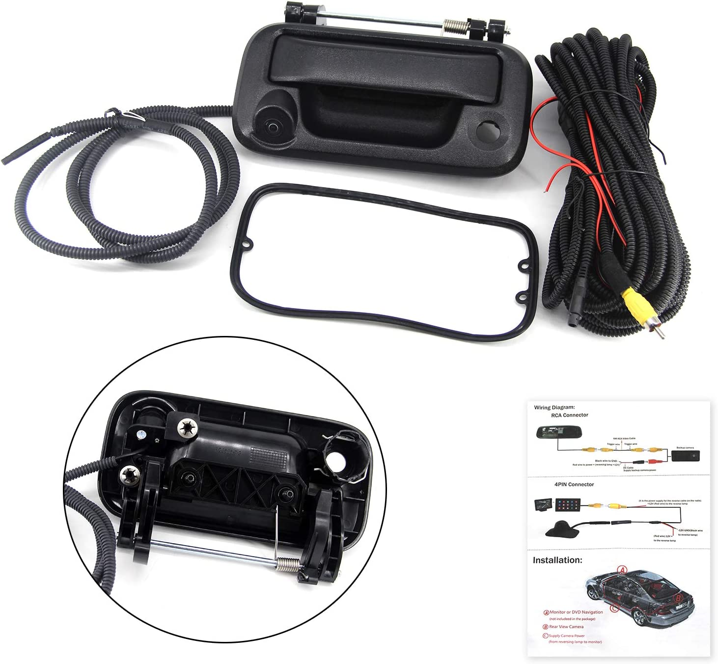FEXON Rear View Camera Backup Camera Replacement for Ford F150 2005-2014 Ford F250 F350 F450 F550 2008-2016 Tailgate Handle Car Camera