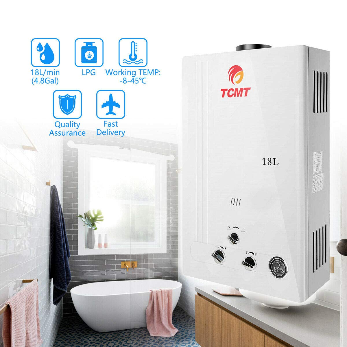 Tengchang 18L LPG Propane Gas Hot Water Heater Tankless Instant Boiler Digital Display Shower Home by Tengchang (Image #1)