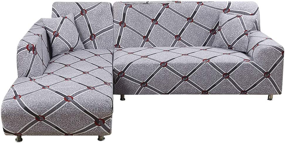 Sectional Sofa Covers L Shape Sofa Slipcover for Living Room, Universal Stretch Fabric Sofa Slipcover L-shape Couch Furniture Protector 2-piece Free A Pillow Cover (L-style 3+3 Seater, Pattern A)