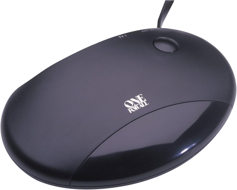 One For All SV 9510 - Amplificador antena para señal UHF, VHF y FM, cable coaxial, color negro