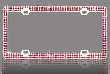 Metal Chrome Double Row Rhinestone License Plate Frame Embedded Universal