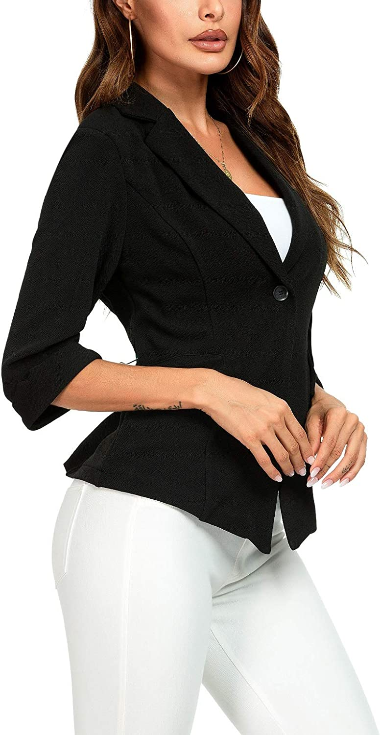 LittleMax Womens 3/4 Sleeve Casual Work Office Blazer Open Front Jacket with Pockets