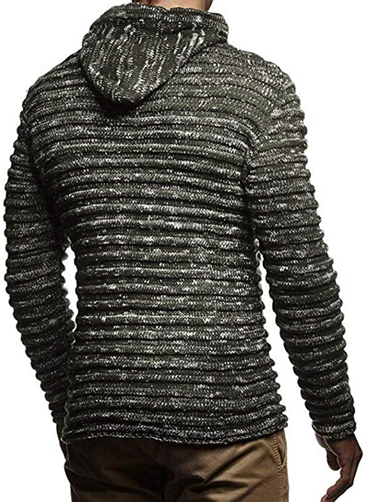 OOEOO Mens Casual Solid Color Knit Stripe Zipper Long Sleeve Sweater Coat Jacket Outwear
