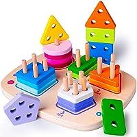 Wooden Educational Toys for 1 2 3 4 Year Old Boys Girls Toddler Shape Sorter Geometric...