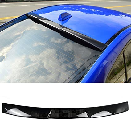 Roof Spoiler Fits 2015-2018 Subaru WRX STI   V Style Carbon Fiber CF Rear  Spoiler Wing Replacement Kit Other Color Available By IKON MOTORSPORTS  