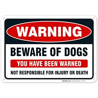 Amazon.com: Sigo Signs cartel Beware of Dog (idioma ...