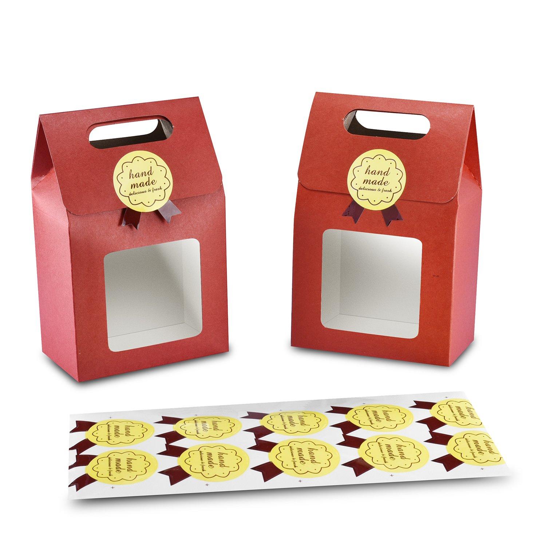 Syndecho 24pcs Candy Box Cookie Bags Bakery Nuts Tea Box 15.5x9.5x5.5cm +24pcs