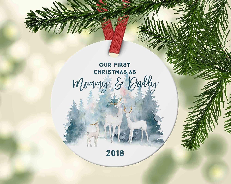 Dozili Our First Christmas As mamá y papá Pretty Christmas Ornamento de Navidad Regalo para nuevos Padres para mamá 2019