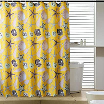 Amazon Yellow Conch Polyester Shower CurtainToilet Water Proof