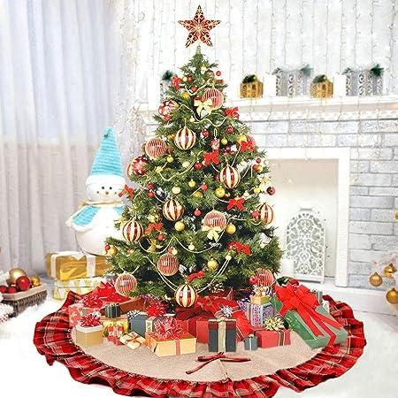 Deggodech Burlap Falda de árbol Navidad de arpillera Yute Base de ...