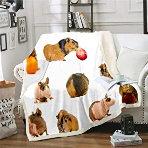 Erosebridal Cute Mouse Bed Blanket Guinea Pig Fuzzy Blanket Rodent Breeds Throw Blanket Apple Orange Food Fruit Plush Blanket for Kids Girls Boys Teens Baby Size, White, Warm Sherpa