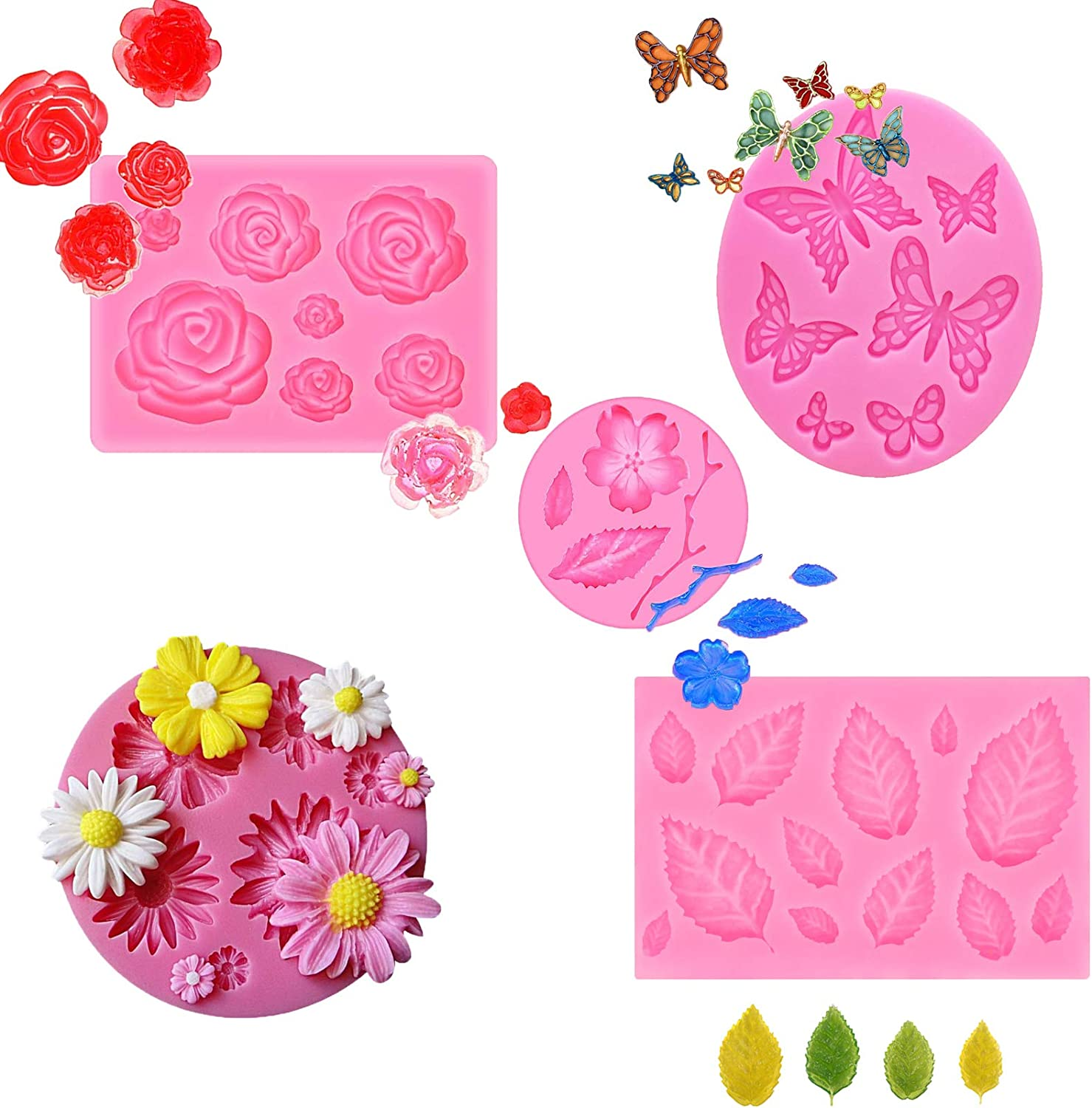 5 Pack Silicone Fondant Molds, Butterfly, Rose Flower and Small Flower, Food Grade Reusable Ice Candy Molds for Making Chocolate Cake Decoration and Jelly Polymer Clay Soap Crafting Projects