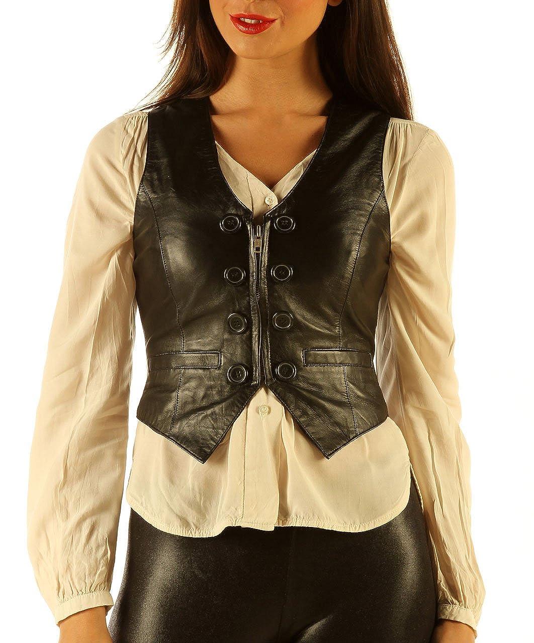 Erocats Soft Leather Short Waist Coat Womens Waistcoat Top wc2