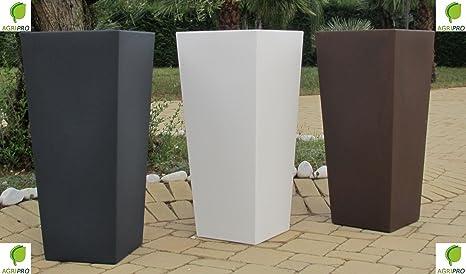 Vasi Alti Da Esterno.Vaso Bianco Quadrato In Resina Moderno Alto H 85 X 34 X 38 Con Cache Pot Made In Italy