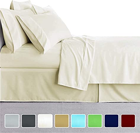 800TC Egyptian Cotton SHEET SET Sateen Ivory Floral