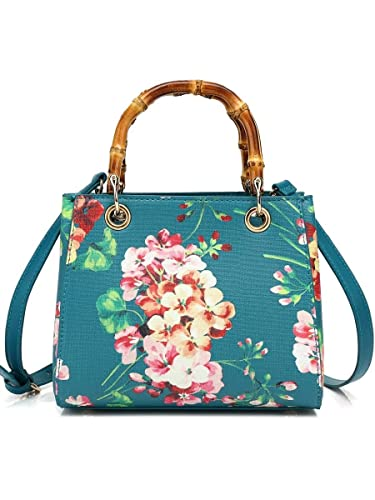 Luxury Brand Women Small Green Tote Bags Famous Designer Bamboo Handle Handbags Flowers Print Lady Shoulder
