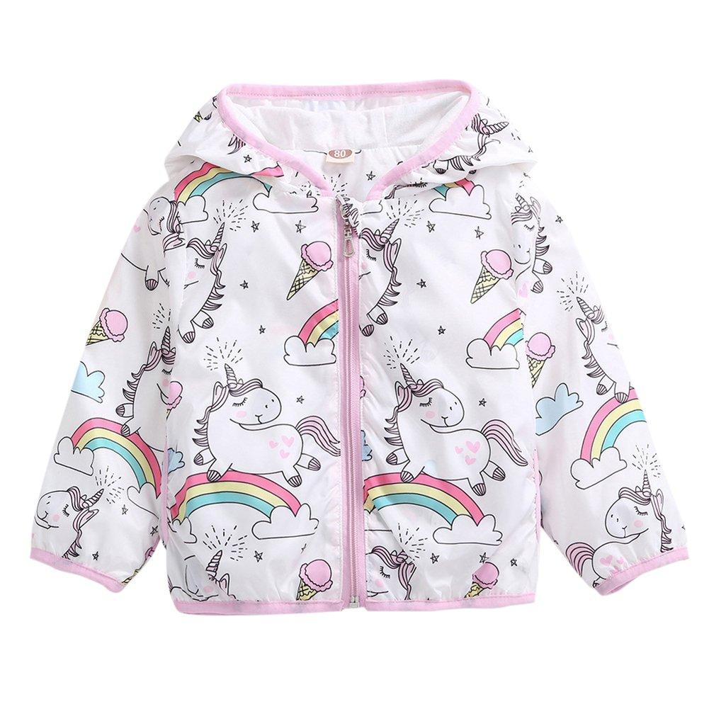 Aulase Toddler Girls Summer Jacket Cartoon Unicorn Hooded Windbreaker Outwear Unicorn 4-5Y/Tag 120cm