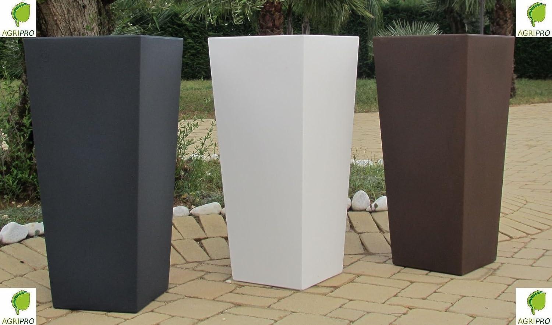 Moderner Pflanzkübel Genesis, mit Einsatz, quadratisch, Material: Kunstharz, Maße: 85 x 34 x 38 cm, Farbe: weiß, hergestellt in Italien