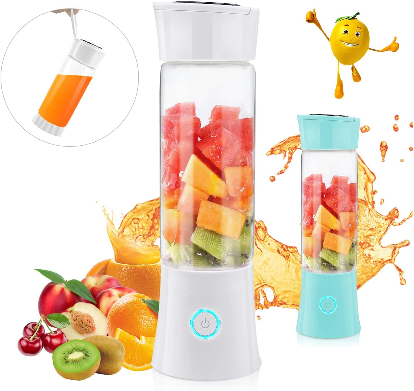 Portable Blender, Supkiir USB Rechargeable Mini Juicer Cup with Handle, Smoothie Blender with 6 Blades with 4000mAh Batteries, 480ml Household Fruit Mixer for Travel Office Sports School