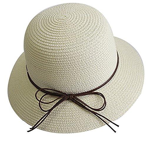 YUUVE Mujer Plegable Bowknot Floppy sombrero de paja Sombrero Brim Wide Beach sombrero Visor Hat Gor...