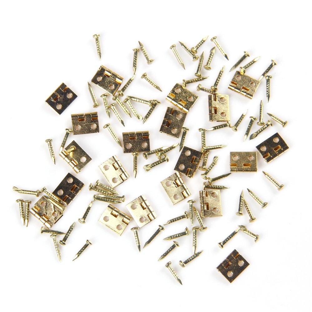 GAOHOU® Hi-elec 20Stü ck DIY Mö bel Kleiderschrank Puppenhaus Zubehö r Gold Mini Scharniere Schrank HG2475X20