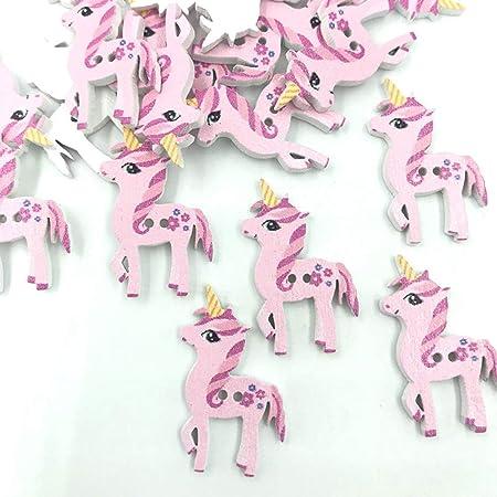 18mm X 28mm 10-Rosa bebé Unicornio de Madera 2 agujeros de costura Artesanía Coser Botones