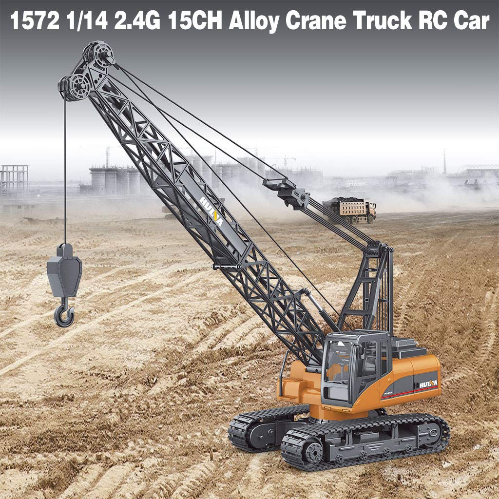 Alloy Crane Crawler Tower Crane Remote Control Construction Truck Engineering Vehicle Hoist Dragline Truck RC Car RTR Play Toys Car 1572 1/14 2.4G 15CH Christmas for Boys Kids by TLoowy-Kids Toys