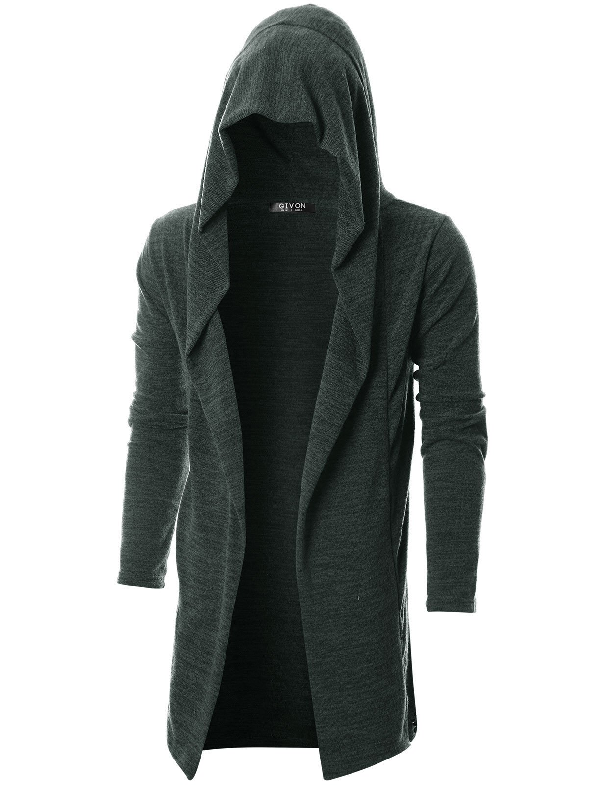 GIVON Mens Long Sleeve Draped Lightweight Open Front Longline Hooded Cardigan/DCC055-DARKCHARCOAL-XL