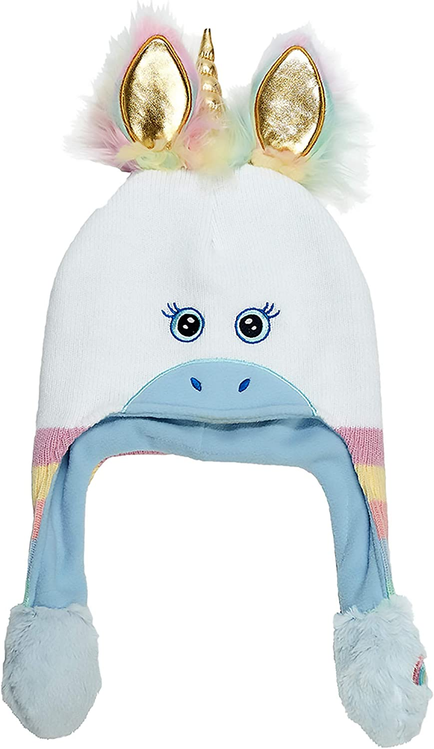 ABG Accessories Girls' Little Unicorn Squeeze and Flap Fun Cold Weather Hat, white/blue, Age 4-7