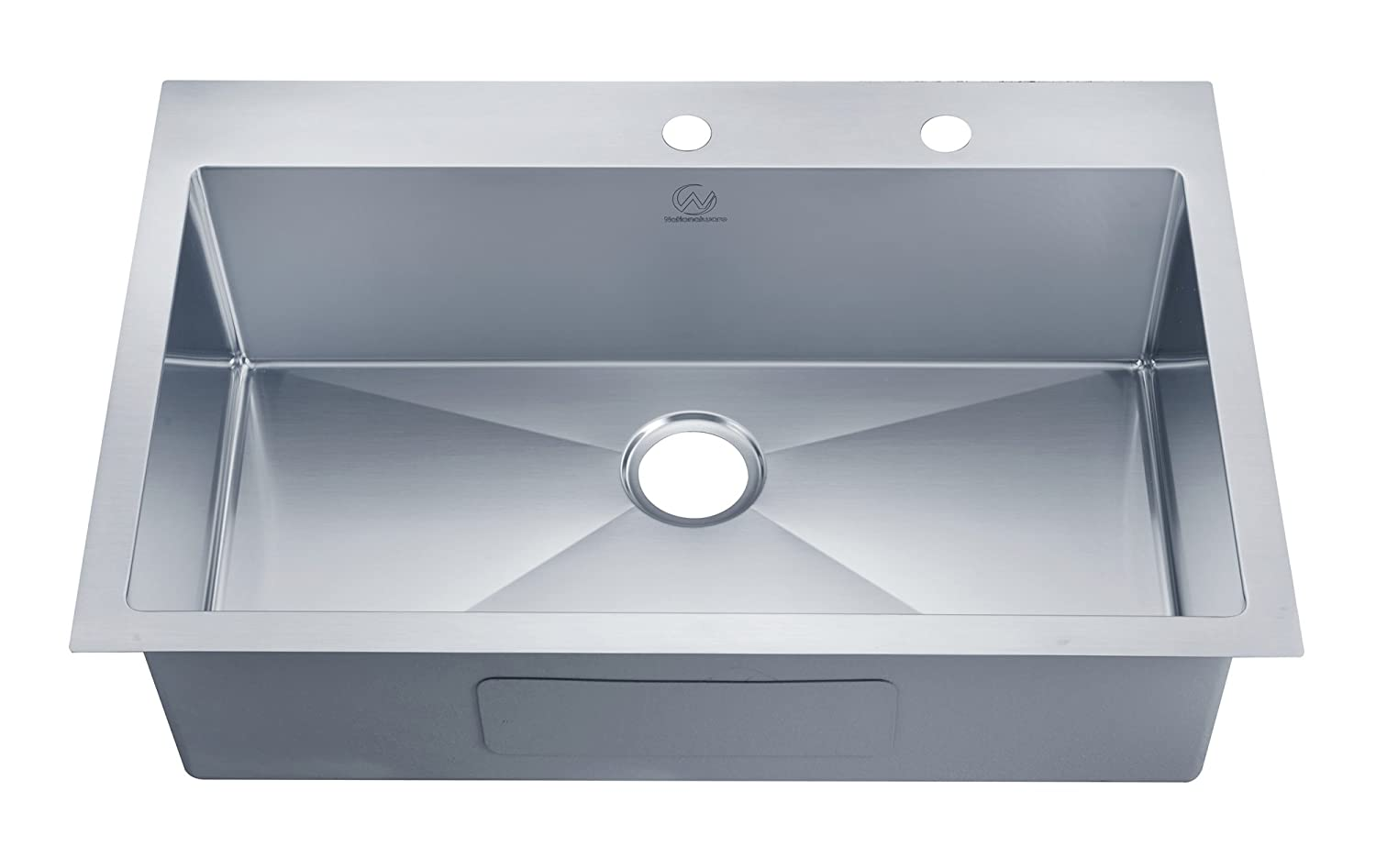 Stufurhome NW-3322SO Over Mount Stainless Steel 2-Hole Single Bowl ...