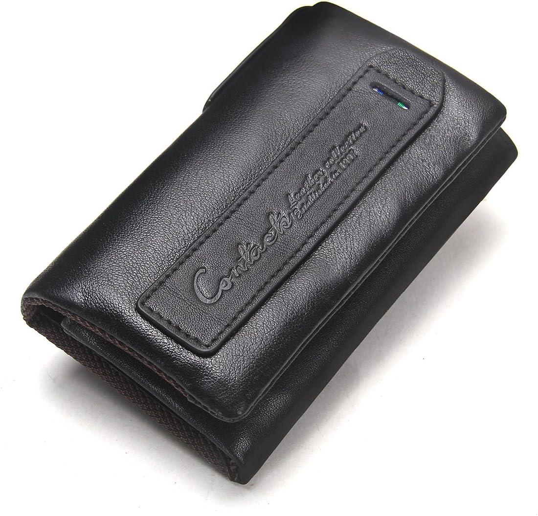 Contacts - Cartera de piel auténtica con cierre para tarjetas y llaves, Negro (Negro) - unknown