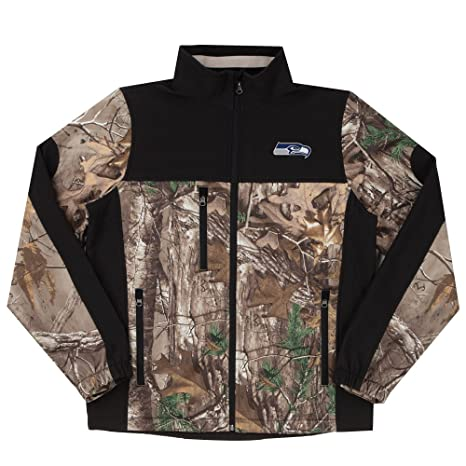 buy popular d1e31 39047 NFL Seattle Seahawks Hunter Colorblocked Softshell Jacket, Real Tree  Camouflage, X-Large