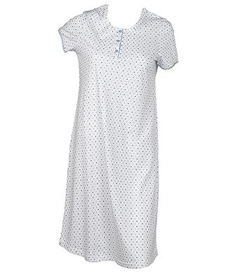 209f39d3bc Waite Ltd Ladies Polka Dot Nightdress Womens 100% Cotton Short Sleeved  Striped Trim Nightie Small