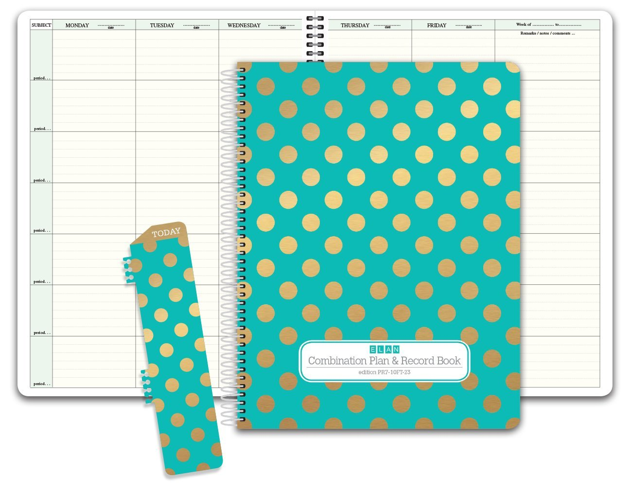 HARDCOVER Combination Plan and Record Book: One efficient 8-1/2'' x 11'' Book for Lesson Plans and Grades Combines W101 and R1010 (PR7-10) (+) Bonus Clip-in Bookmark (Gold Dots Turquoise)