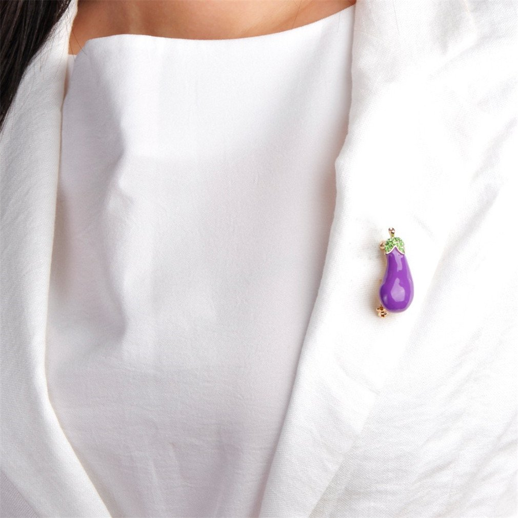Astral Purple Plant Vegetables Eggplant Brooch Gold-Color Alloy Enamel Brooches For Suit Scarf Collar Accessories Clips Jewelry purple by Astral (Image #3)