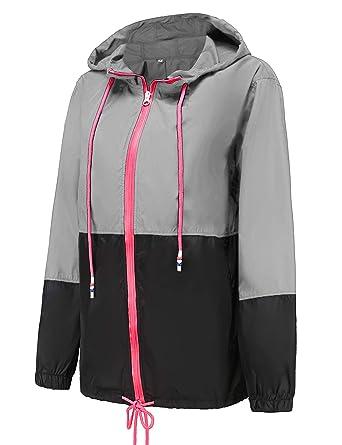 0d1f349f2c796b Windbreaker Packable Bomber Rain Jacket Ladies Waterproof Jacket Hiking  Cycling Rain Coat Black S